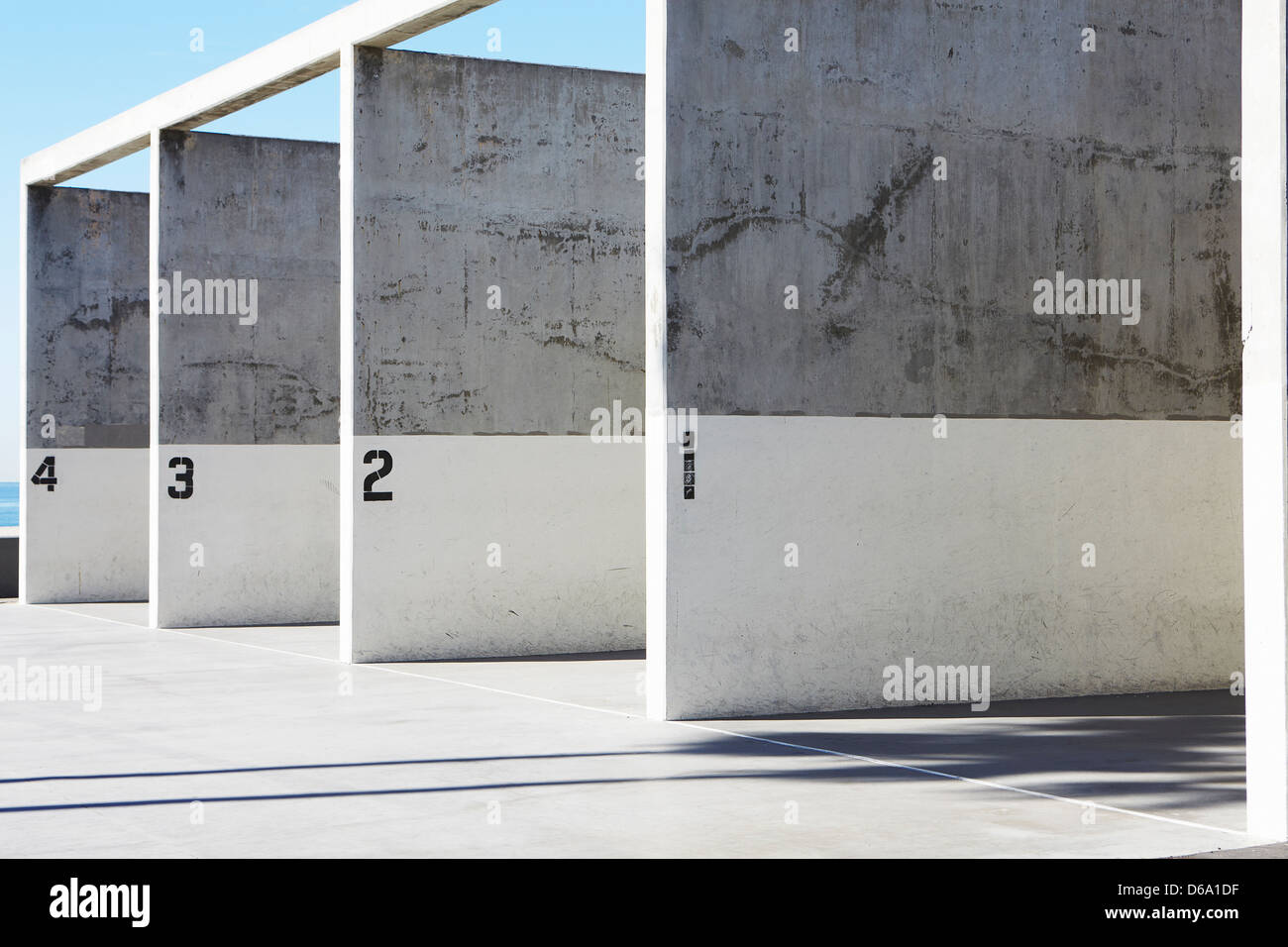 Labeled concrete walls - Stock Image