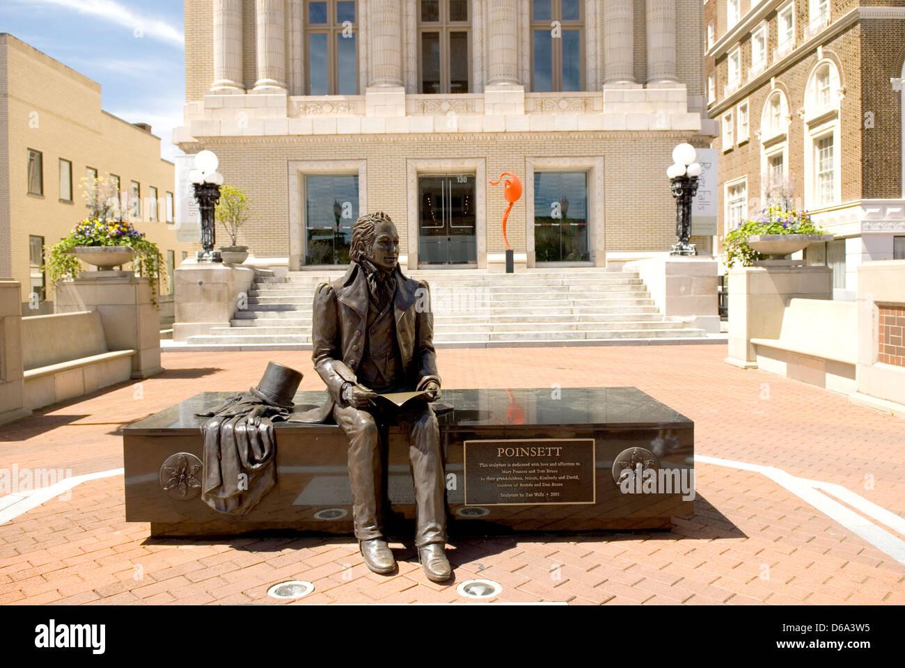 Joel Poinsett statue Greenville SC USA - Stock Image