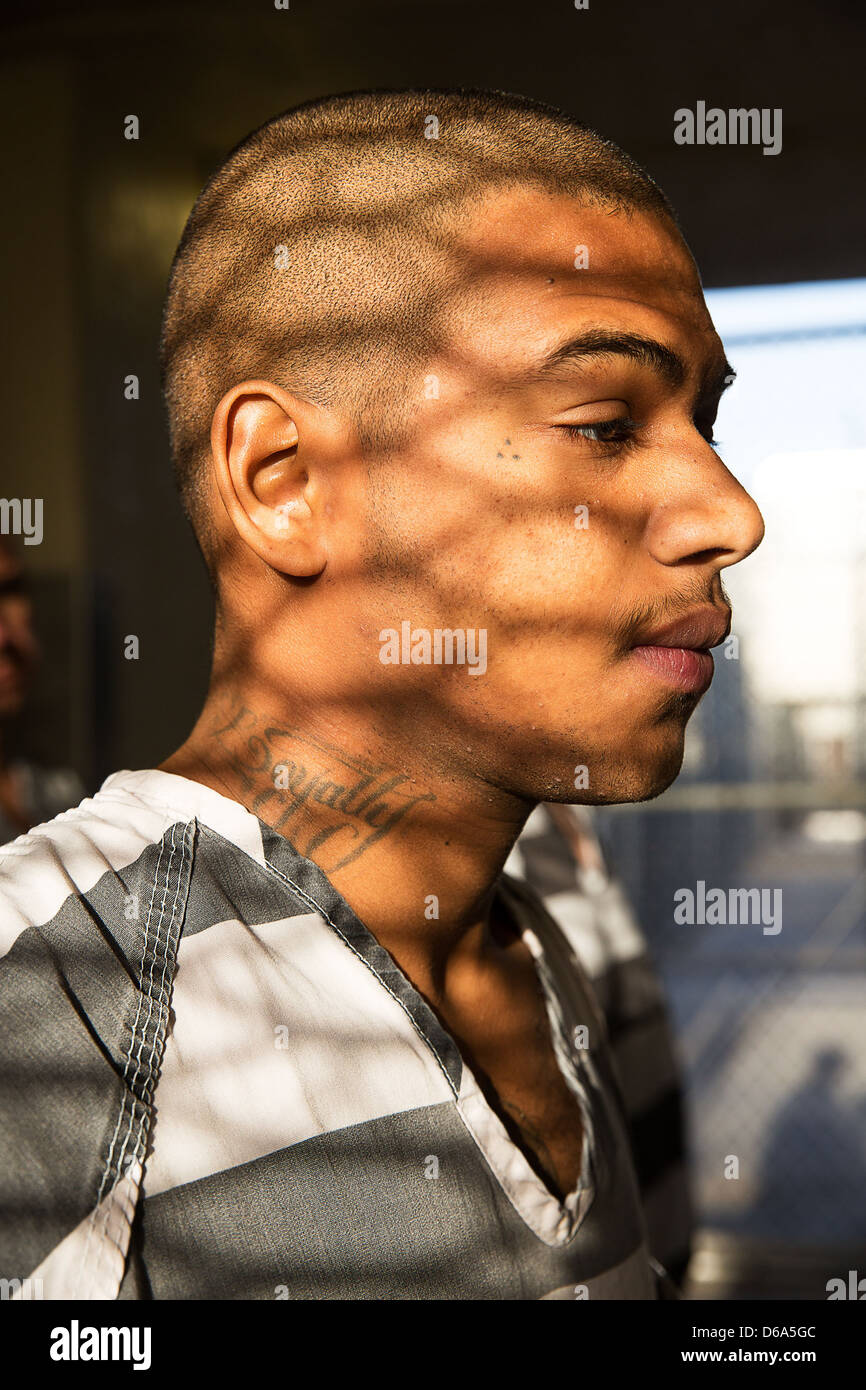 A Portrait Of Amale Inmate On The Cahin Gang Estrella Jail Stock