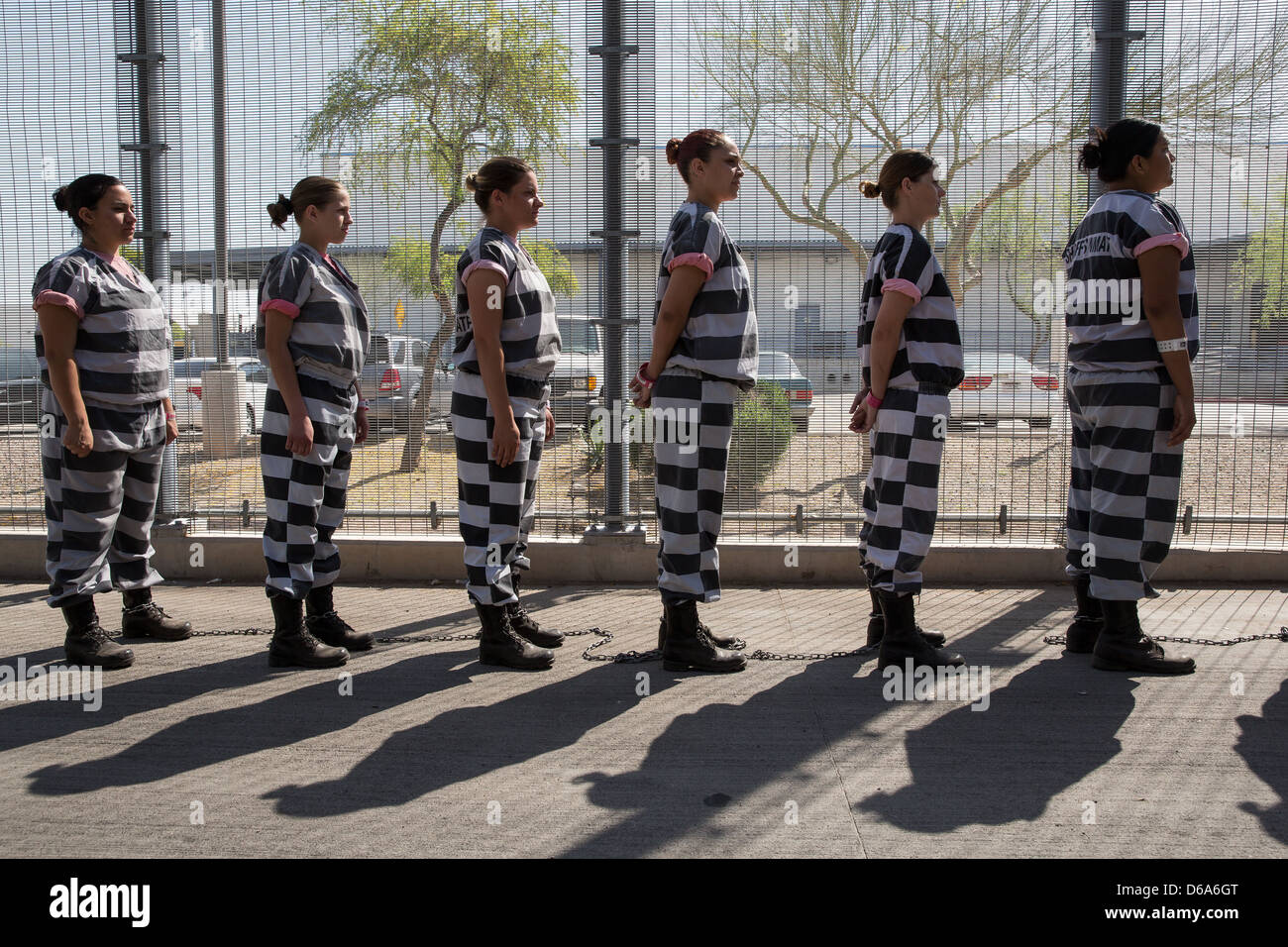 Inmates Of The Female Chain Gang Line Up Ready To Enter Estrella