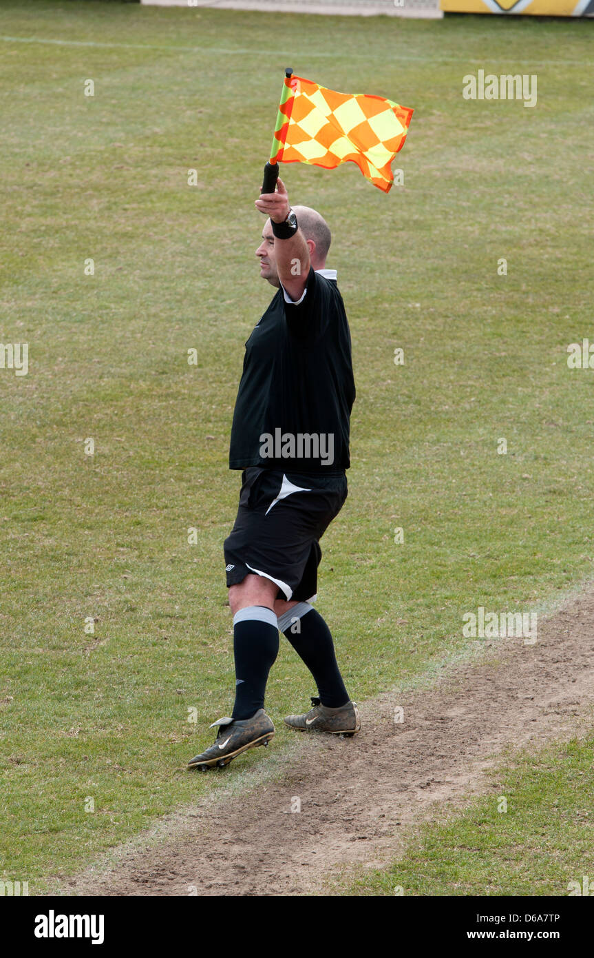 Linesman at women`s football match at club level - Stock Image