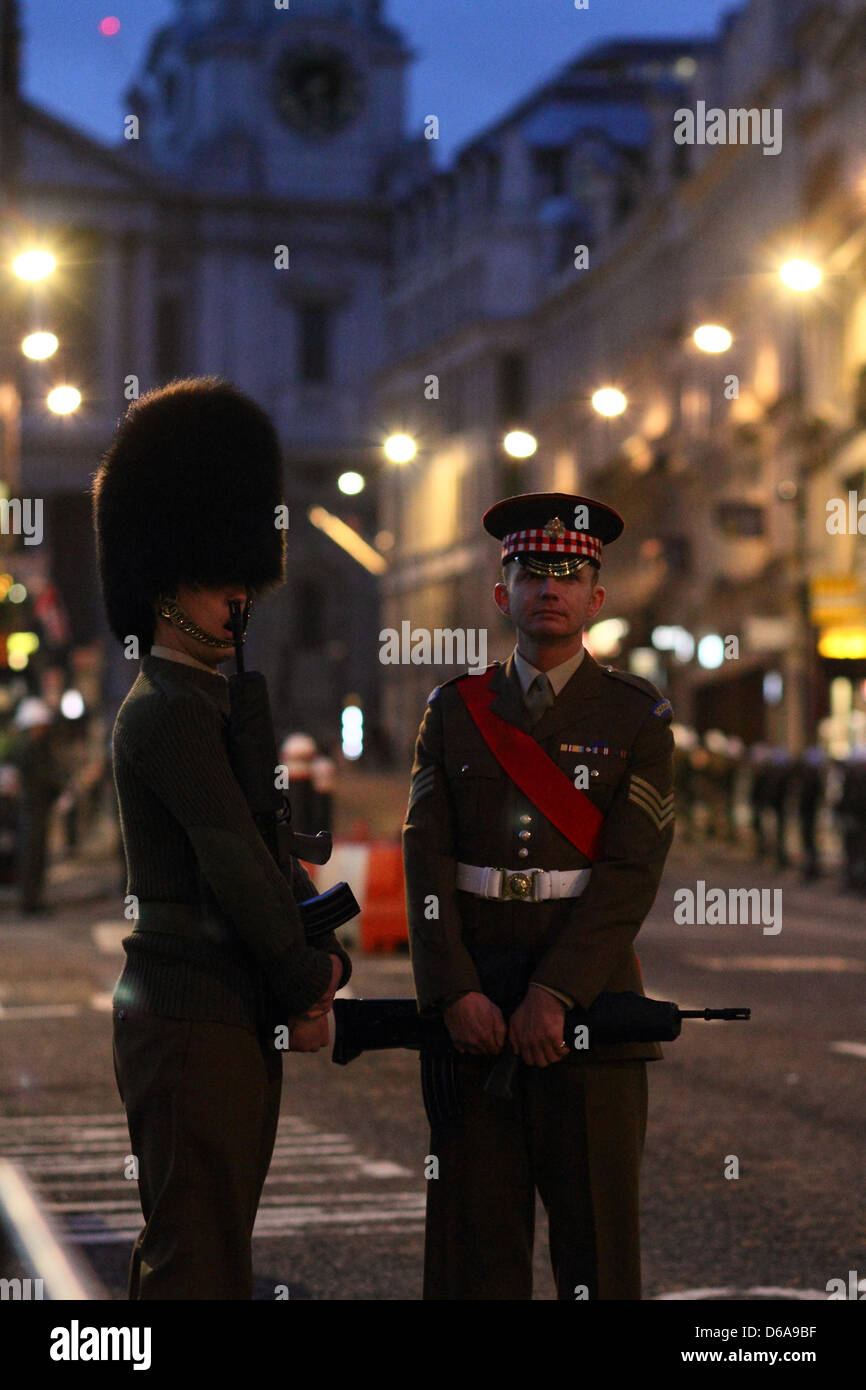 London, UK. 15th April, 2013. Early Morning Rehearsal of the full Military Ceremonial Procession for The Funeral - Stock Image
