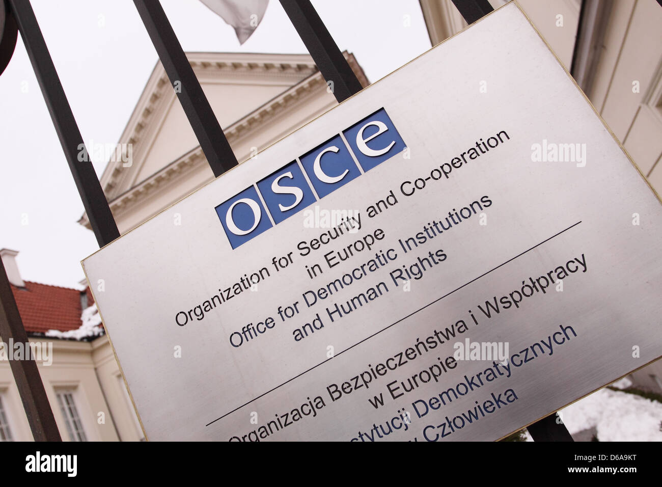 OSCE Organisation for Security and Co-operation in Europe building sign - Stock Image