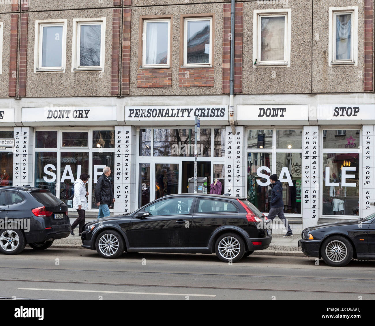 Clothing shop called 'Personality Crisis' in Rosenthalerstrasse, Mitte, Berlin - Stock Image