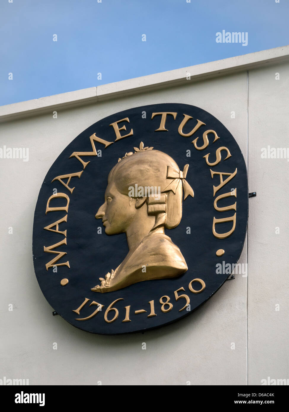 Sign above Madame Tussauds attraction in London - Stock Image