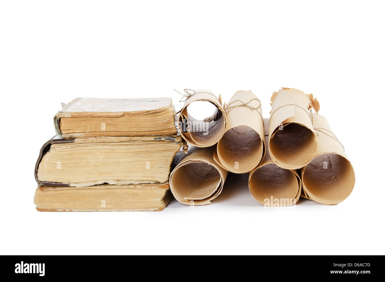 Many ancient scrolls and old books - Stock Image