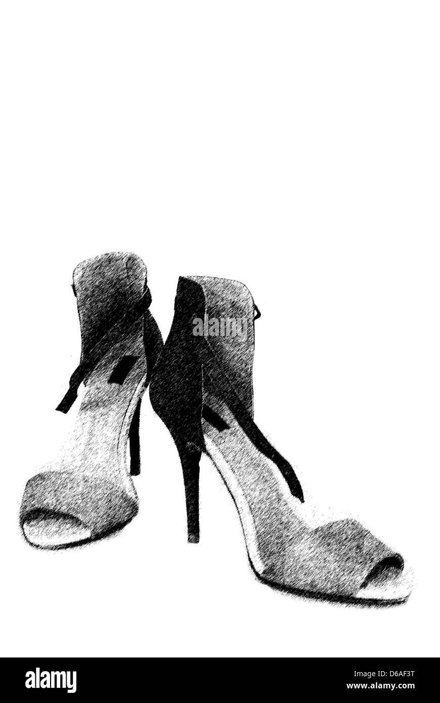 fashion shoes illustration - Stock Image