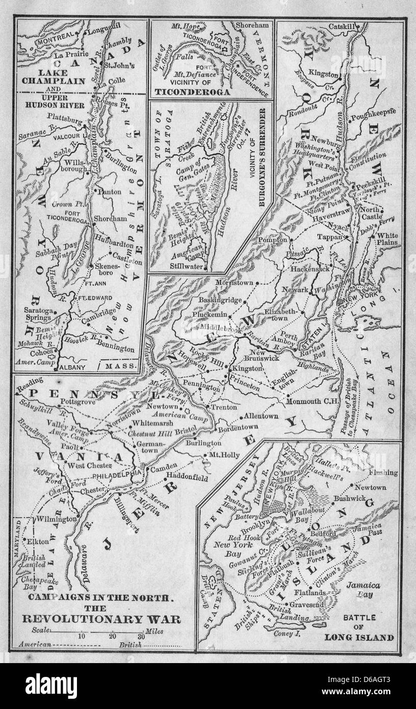 Campaigns in the North - Revolutionary War Map - Stock Image