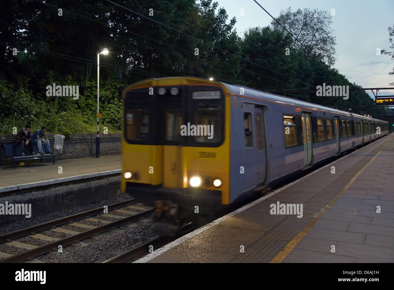 London, United Kingdom, the Greater Anglia train drives a station in Rectory Road Stock Photo