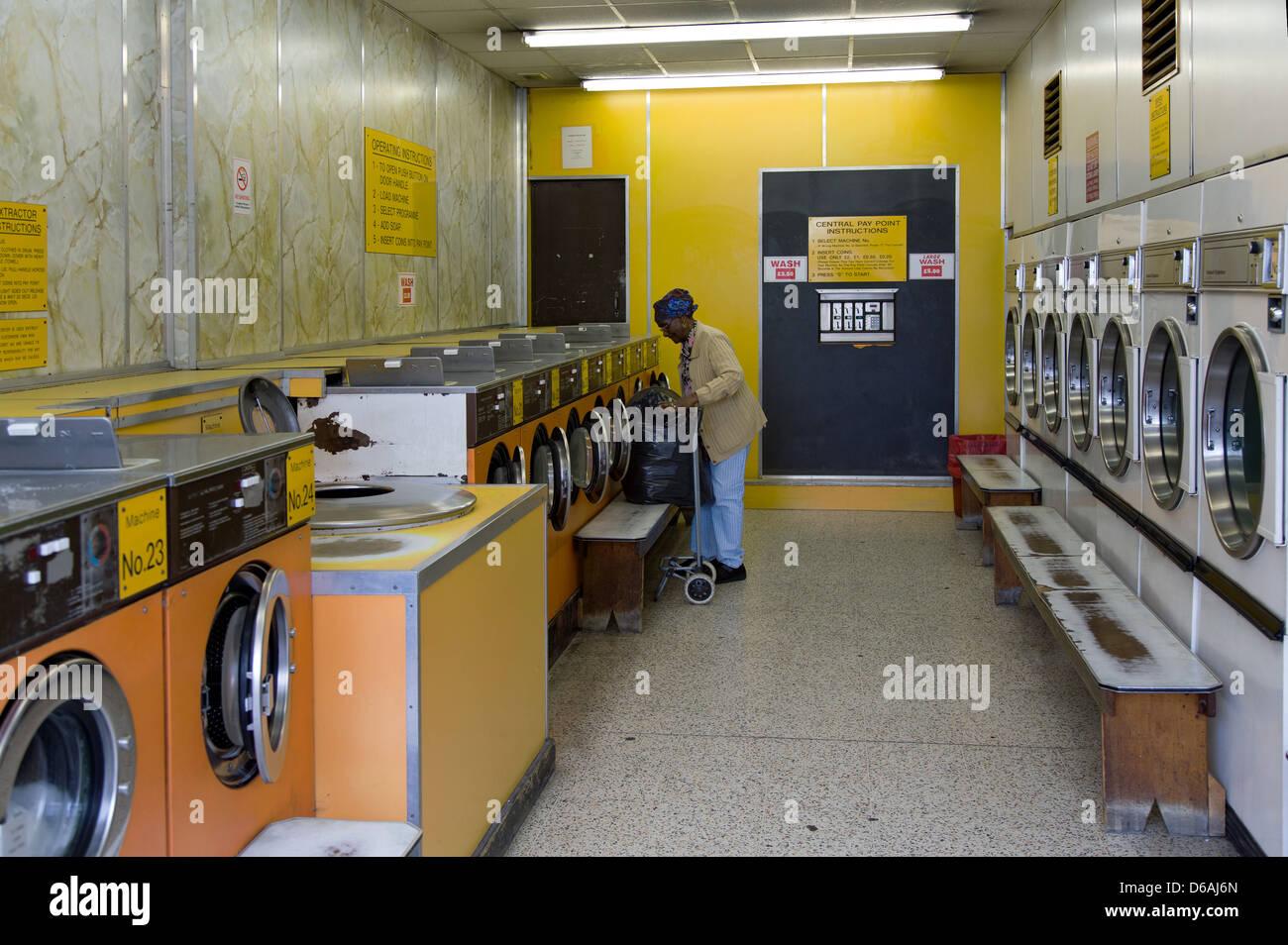 London, United Kingdom, laundromat in Hackney Stock Photo