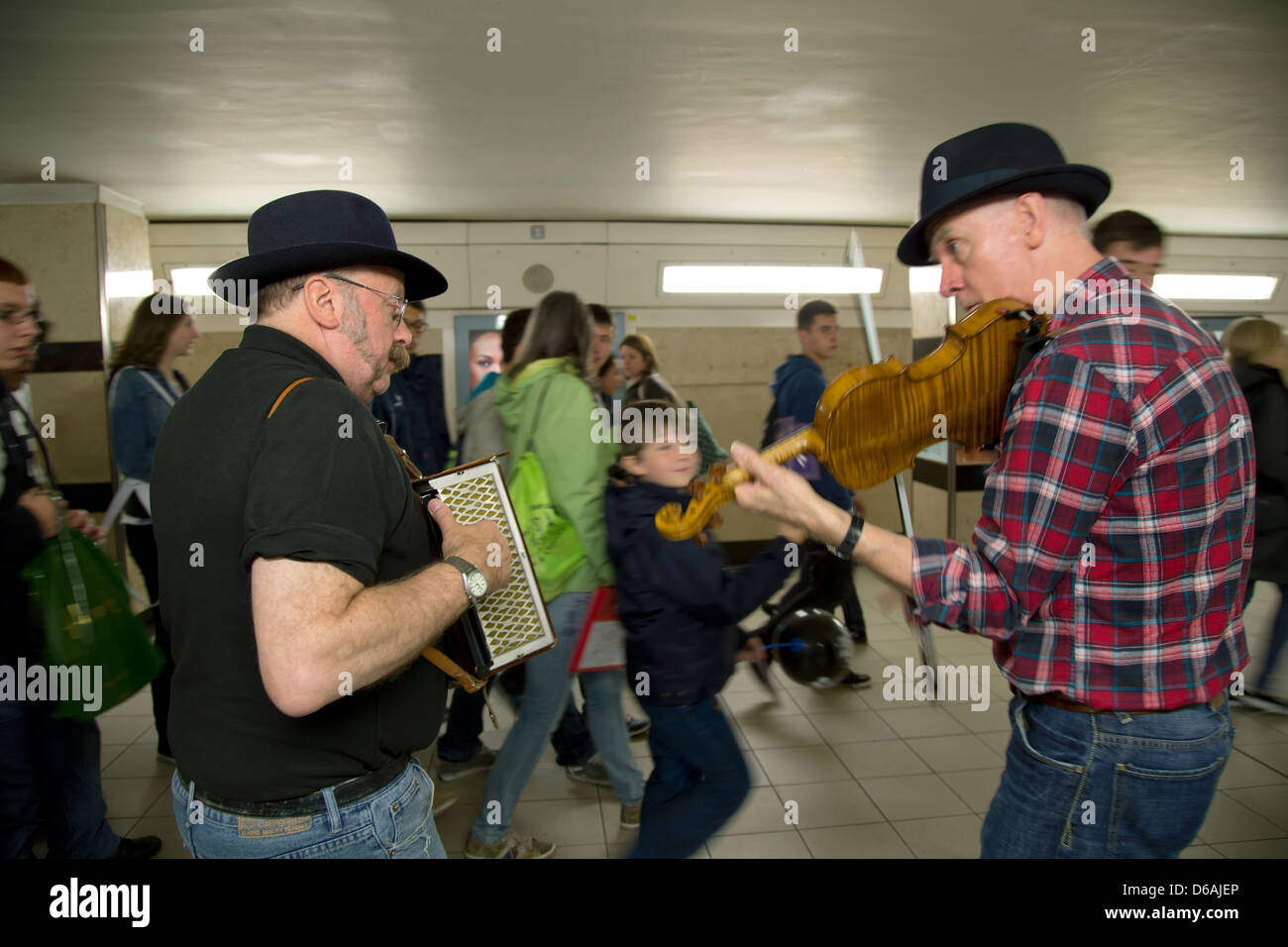 London, United Kingdom, two folk musicians in access to metro station Leicester Square - Stock Image