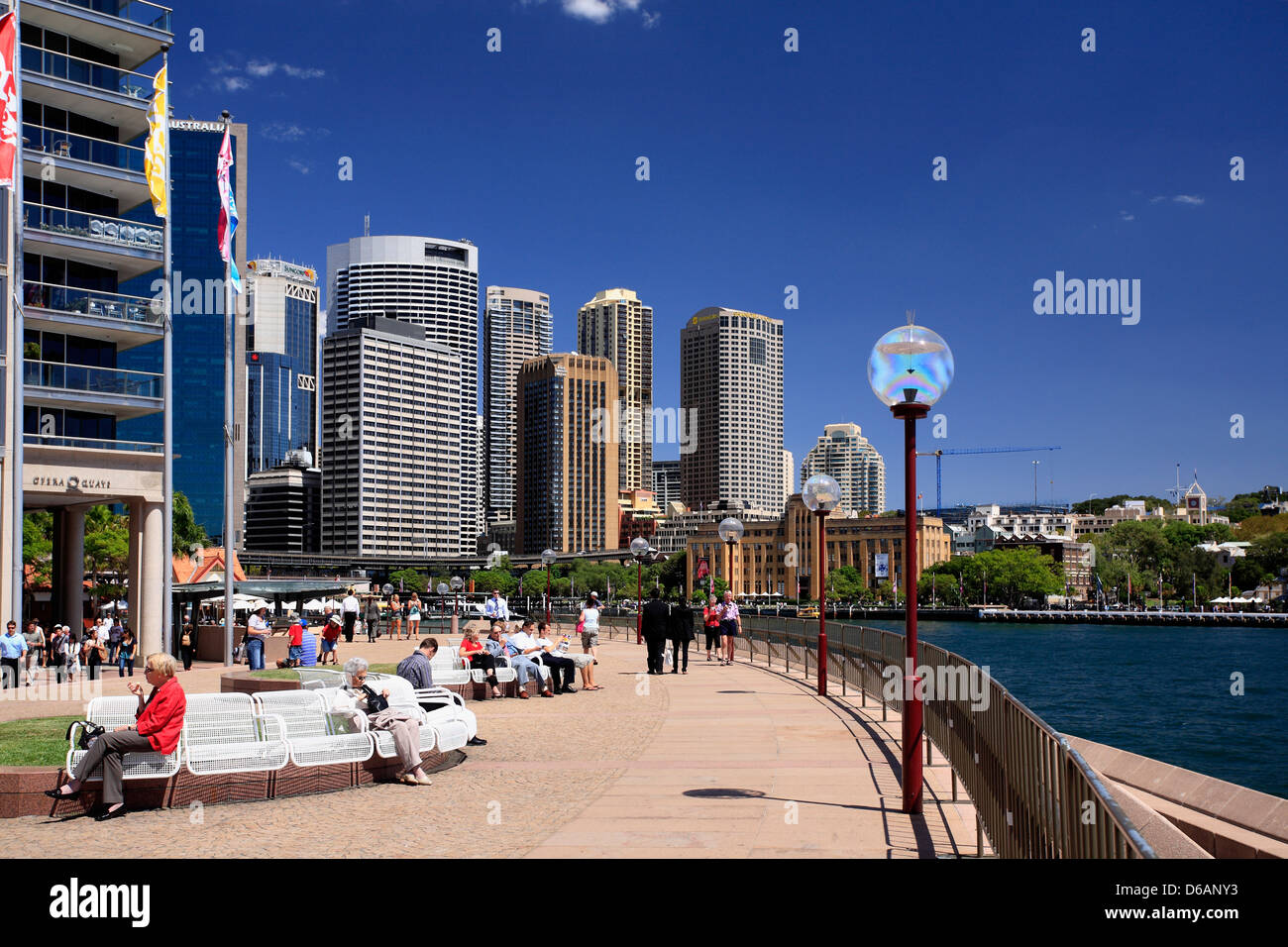 Circular Quay, Sydney ,showing the city skyline and harbour. Australia - Stock Image