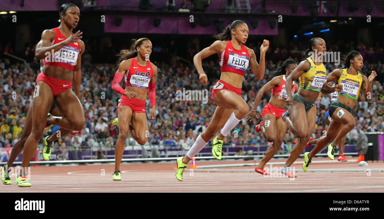 Gold medalist Allyson Felix (C) of USA, silver medalist Shelly-Ann Fraser-Pryce (R) of Jamaica and bronze medalist - Stock Image