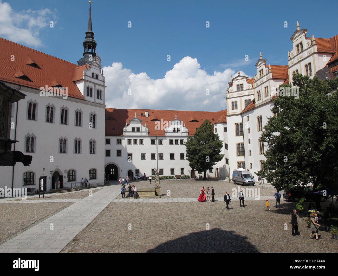 A view of the inner courtyard of Renaissance Palace Hartenfels is pictured in Torgau, Germany, 04 August 2012. Construction Stock Photo