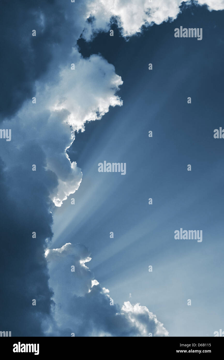 sky,cloudscape,sunbeams, sun beams - Stock Image