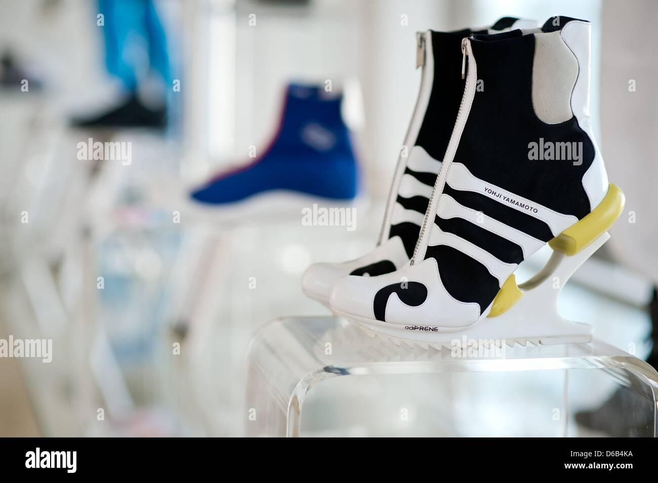 7728f08ba3793 Futuristic Adidas women s shoes by designer Yohji Yamamoto are displayed at  company headquarters in Herzogenaurach