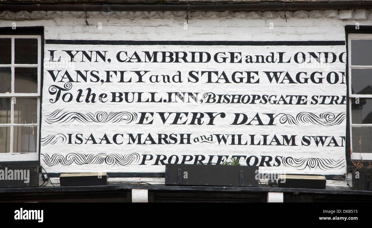 Old notice for stage coach travel from East Anglia to London, Ely, Cambridgeshire, England - Stock Image
