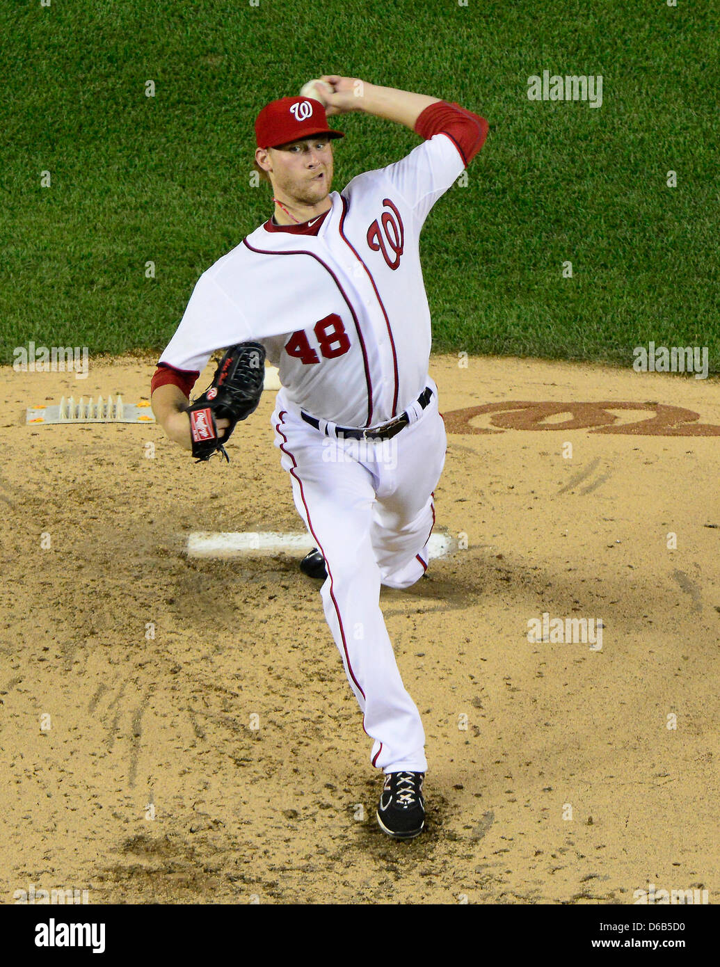 Washington Nationals pitcher Ross Detwiler (48) works in the fifth inning against the New York Mets at Nationals Park in Washington, D.C. on Friday, August 17, 2012..Credit: Ron Sachs / CNP.(RESTRICTION: NO New York or New Jersey Newspapers or newspapers within a 75 mile radius of New York City) Stock Photo