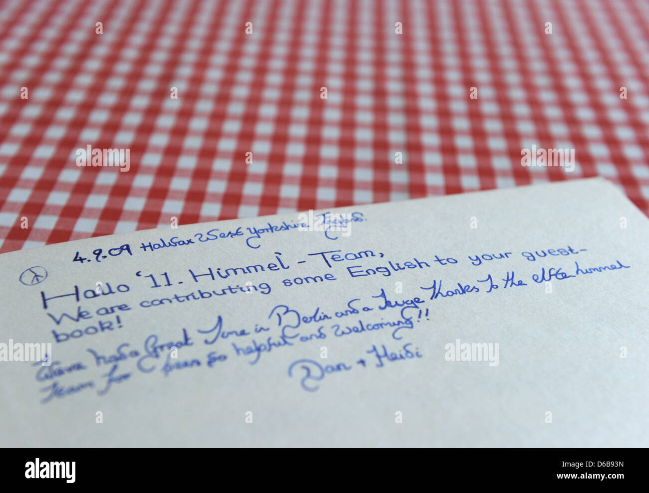 A Passage Written By Couple From Yorkshire England Into The Guest Book Of Pension 11Heaven Is Visible On Table At Culture High Rise In Marzahn