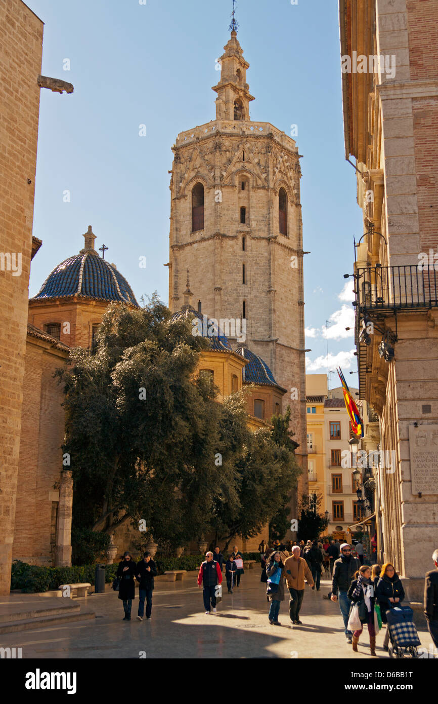 Valencia City, Spain. Valencia Cathedral El Miguelete (The Tower) - Stock Image
