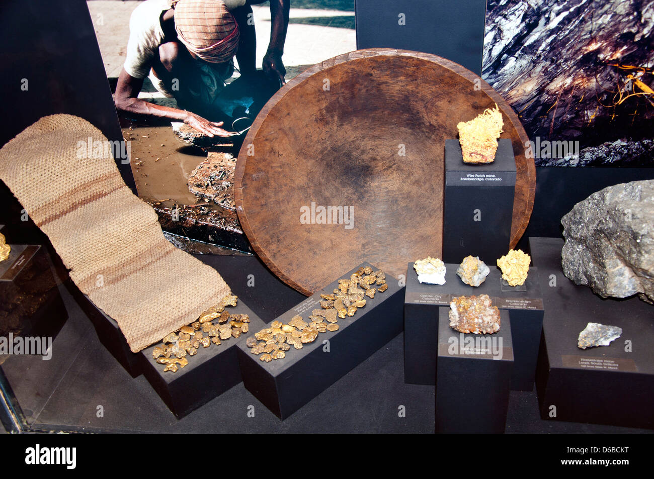 Gold Nuggets, Natural History Museum, Los Angeles, CA - Stock Image
