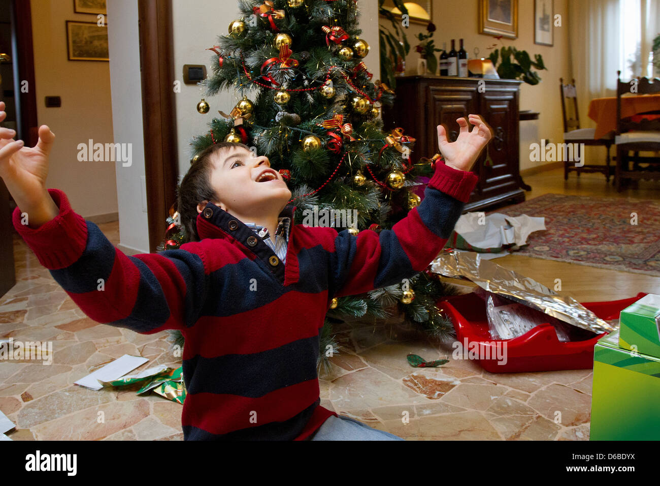 Boy cheering by Christmas tree - Stock Image