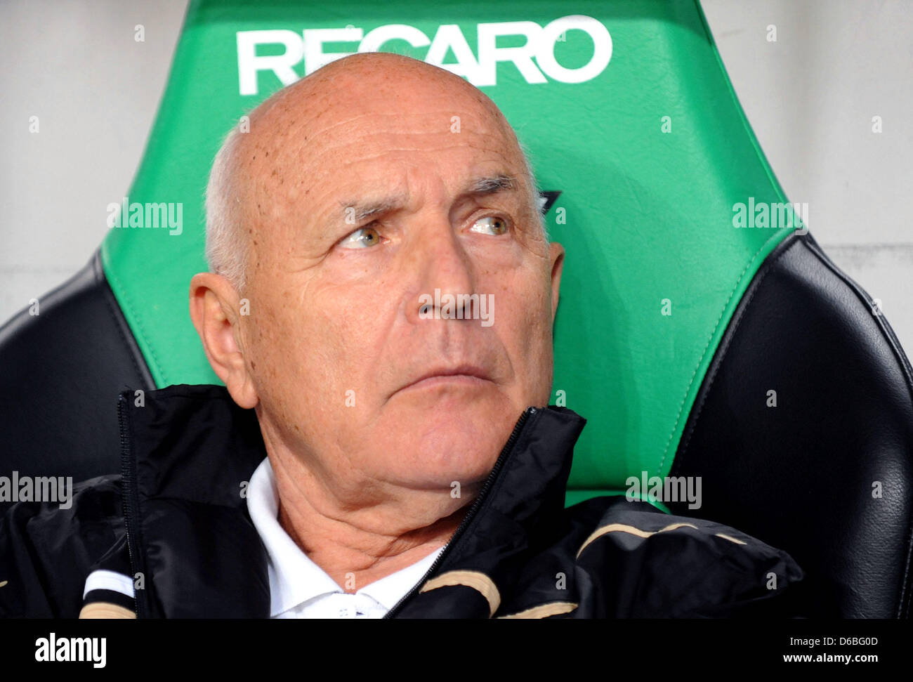 Slask Wroclaw head coach Orest Lenczyk looks on prior to the UEFA Europa League fourth qualifying round second leg - Stock Image