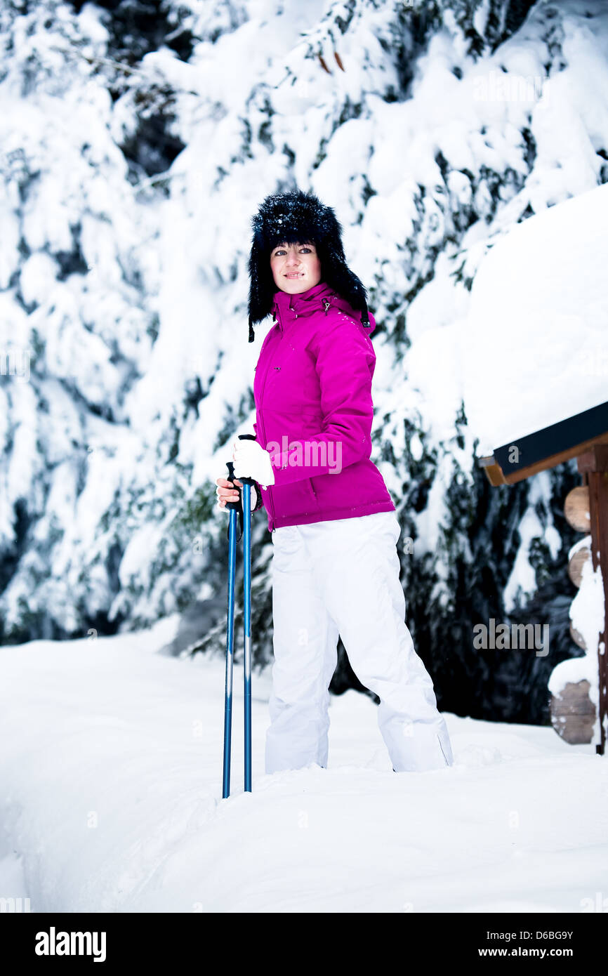 winter portrait of a woman - Stock Image