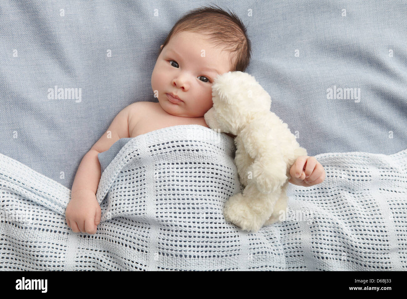 Baby boy and teddy bear laying in bed - Stock Image