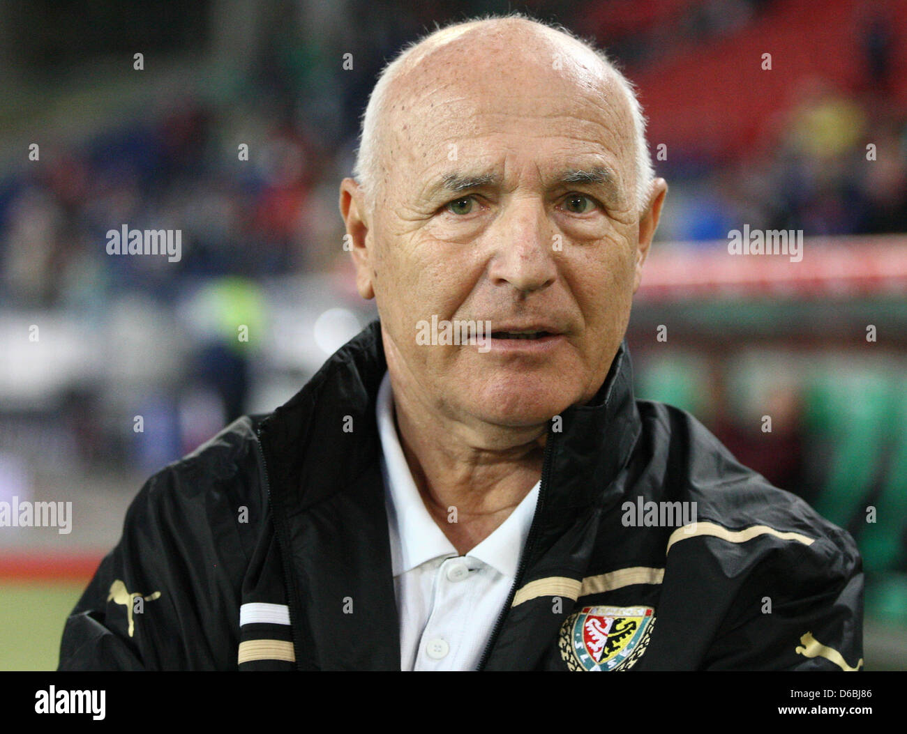 Slask Wroclaw head coach Orest Lenczyk gestures during the UEFA Europa League fourth qualifying round second leg - Stock Image