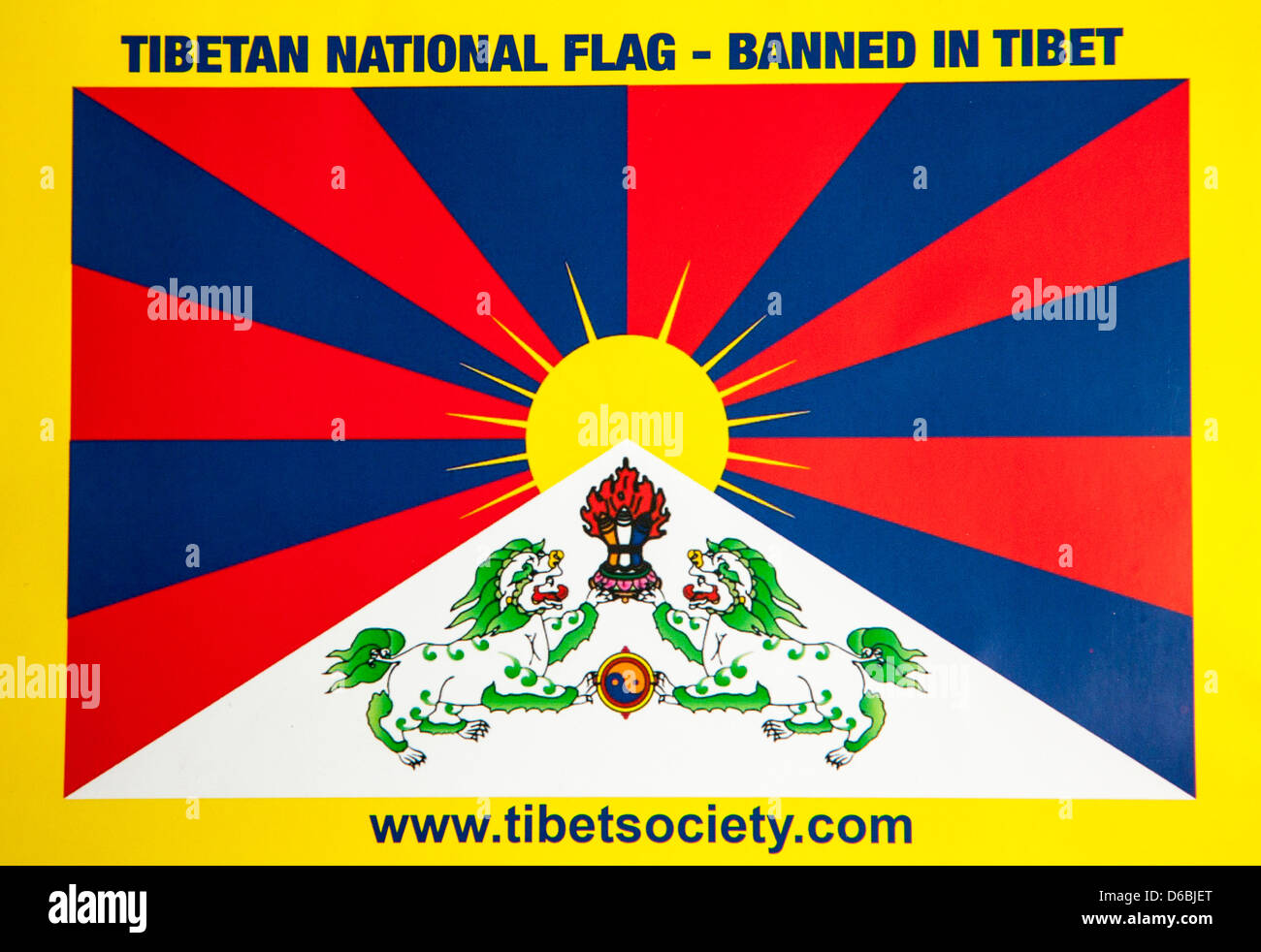 The Tibetan Flag Tibet China - Stock Image
