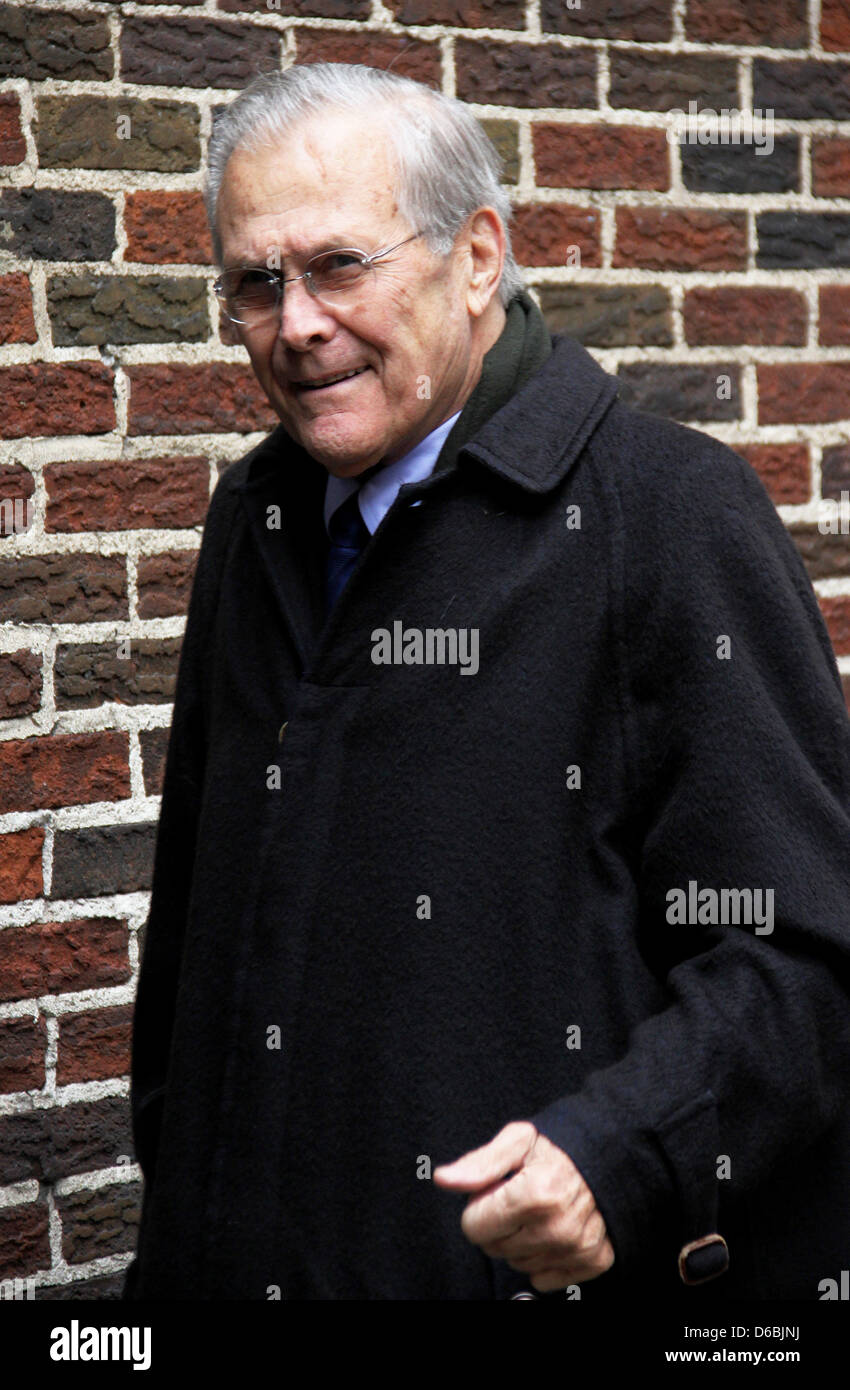 Donald Rumsfeld 'The Late Show with David Letterman' at the Ed Sullivan Theater - Arrivals New York City, - Stock Image