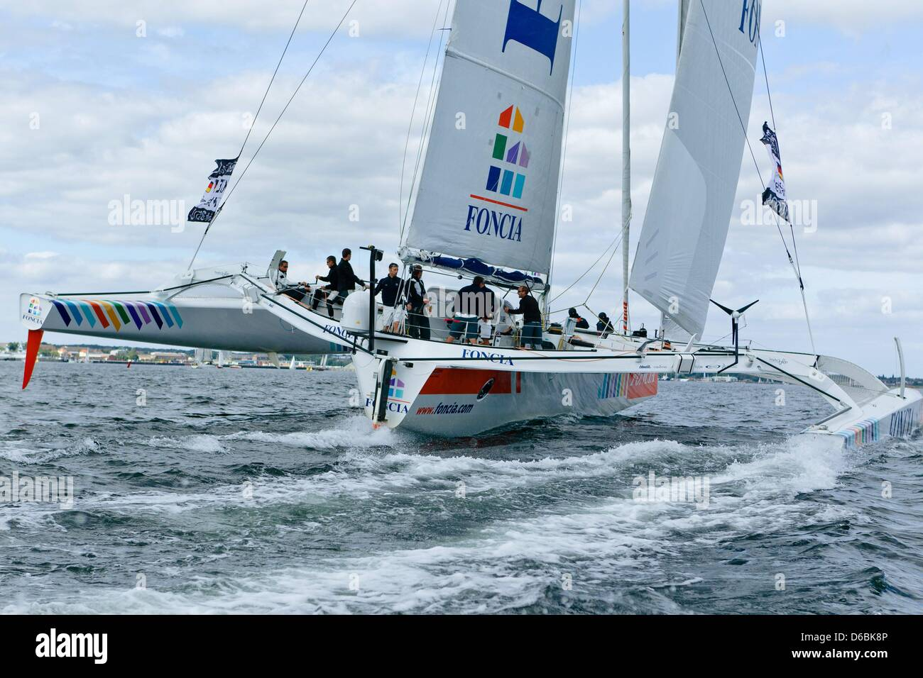 The MOD70 trimaran boat 'Foncia' competes in its fourth race