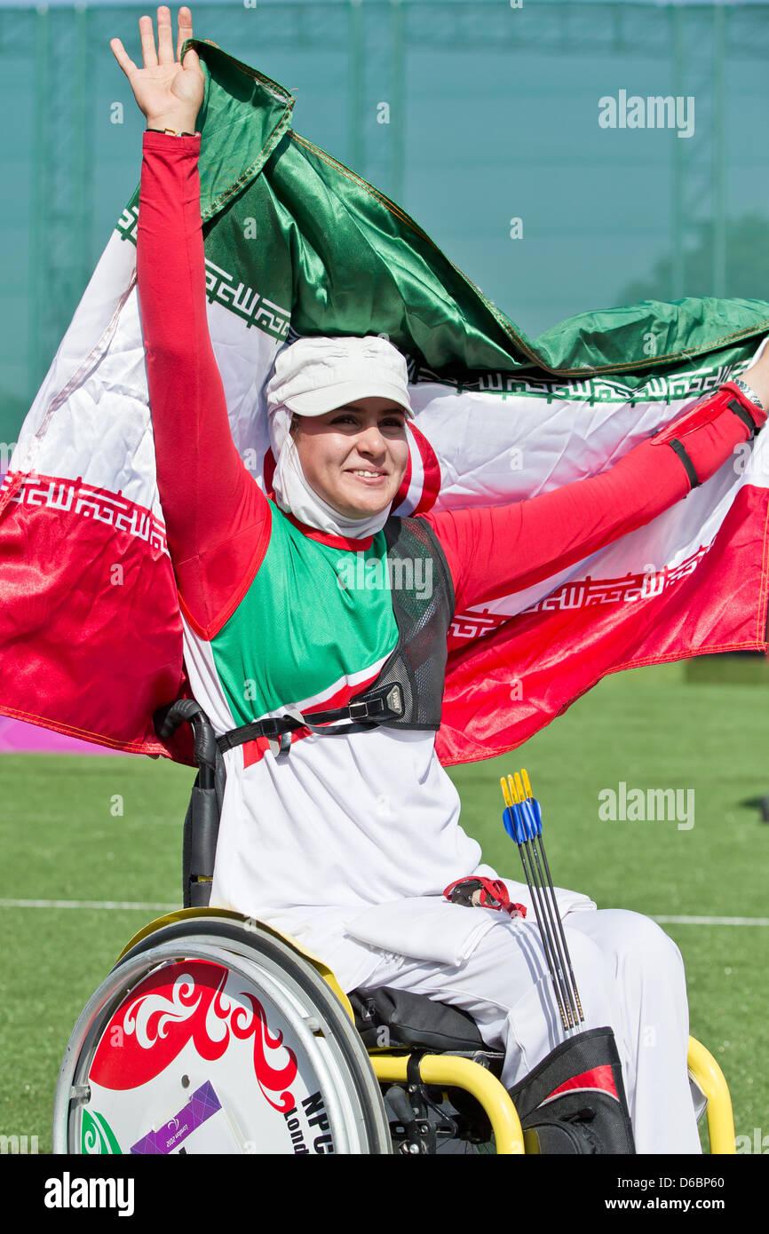 Zahra Nemati of Iran celebrates after the women's individual ...