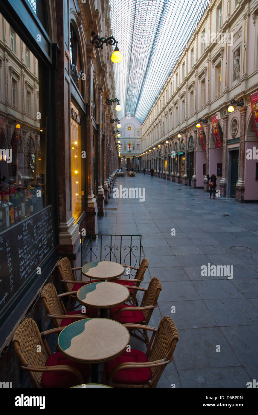 Galeries Royales Saint-Hubert or Koninklijke Sint-Hubertusgalerijen shopping arcade Brussels Belgium Europe - Stock Image