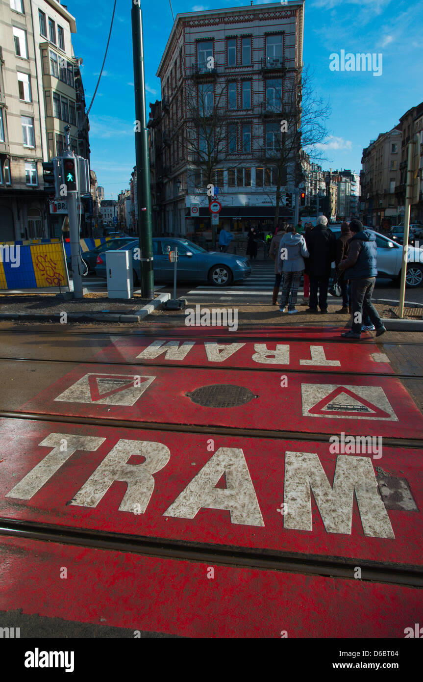 Tram tracks over Boulevard de Nieuport / Nieuwpoortlaan street Dansaert district central Brussels Belgium Europe - Stock Image