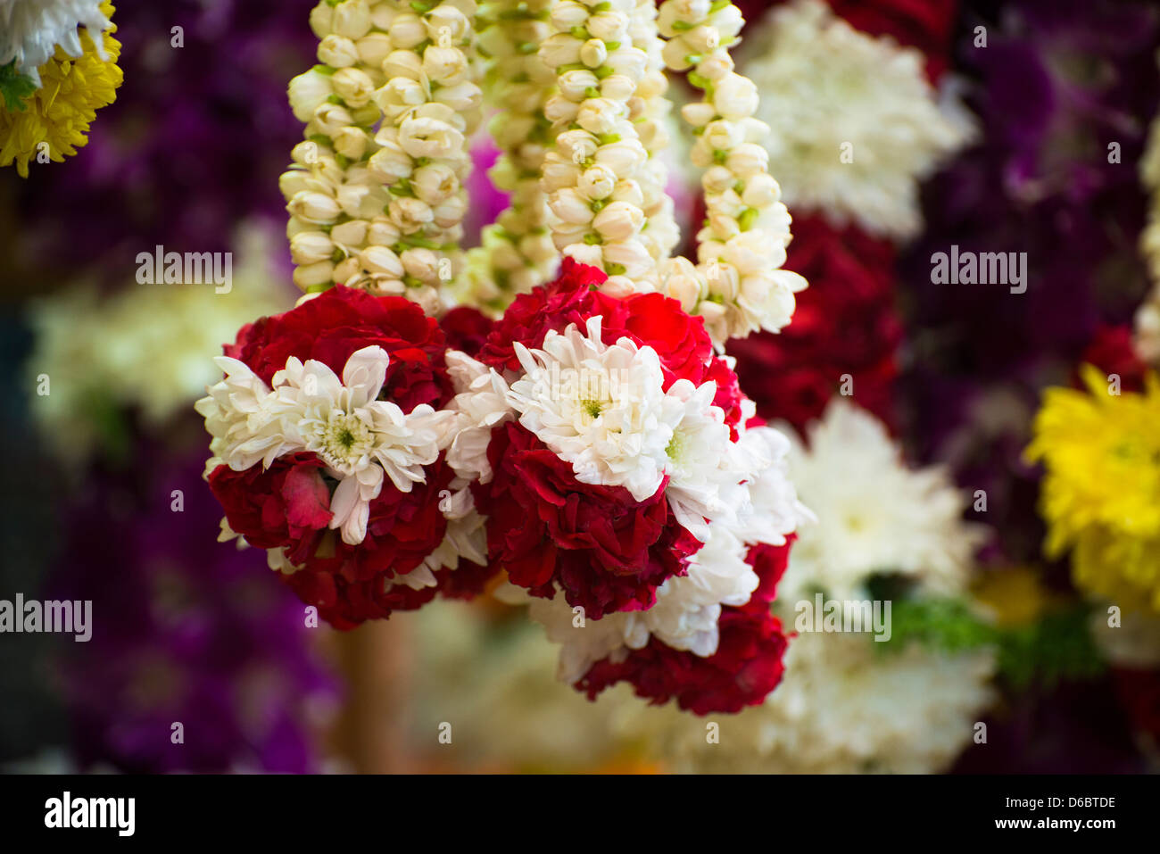 Flower garlands for Indian festivals displayed at a stall. - Stock Image
