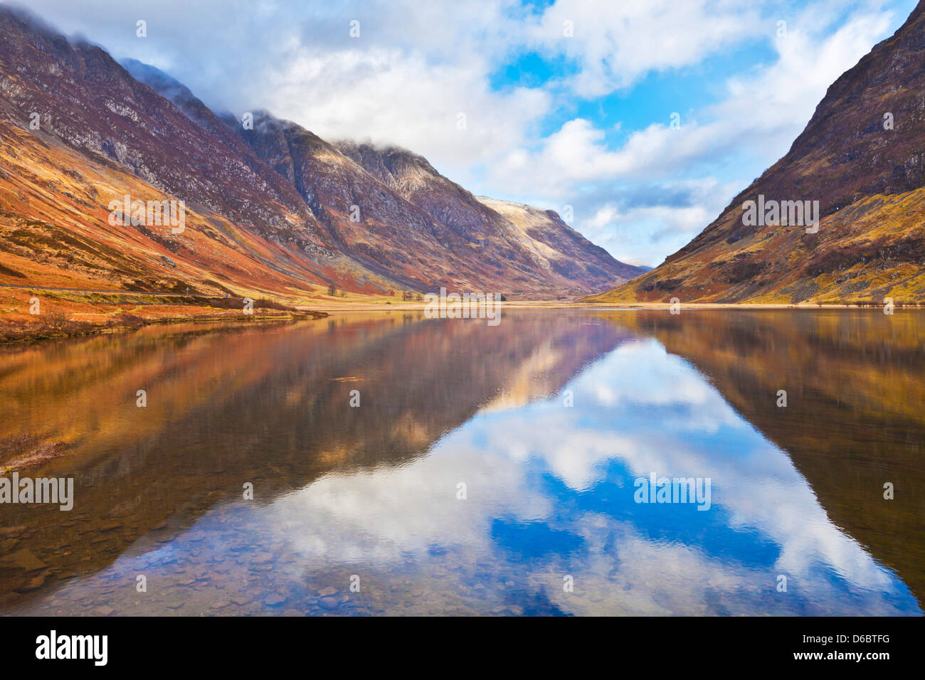 Glen Coe Loch Achtriochtan and reflections of the Eagach Ridge The Scottish Highlands, Scotland, UK, GB, EU, Europe - Stock Image