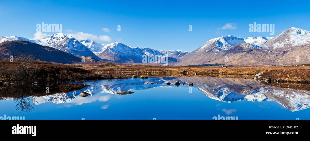 Snow covered mountains around Lochan na h-Achlaise Rannoch moor Argyll and Bute Scottish Highlands UK  GB EU Europe - Stock Image
