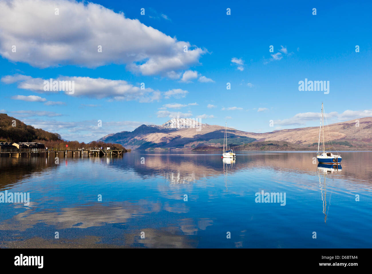 Picturesque tranquil Loch Lomond with sailing boats Luss Jetty Luss Argyll and Bute Scotland United Kingdom UK GB - Stock Image