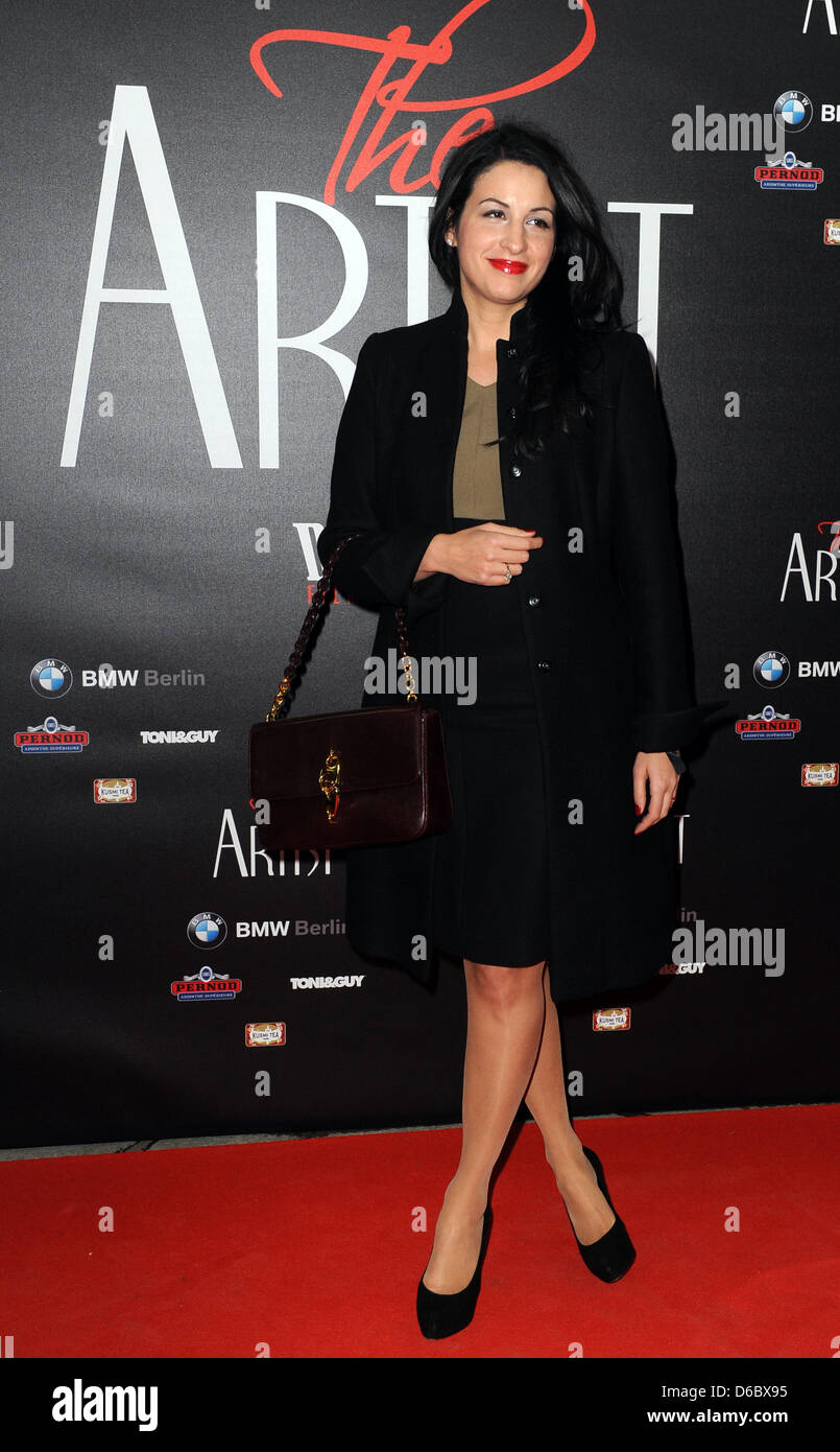 Producer Minu Barati-Fischer poses on the red carpet at the Delphi Film Palace on the occasion of the German premiere - Stock Image