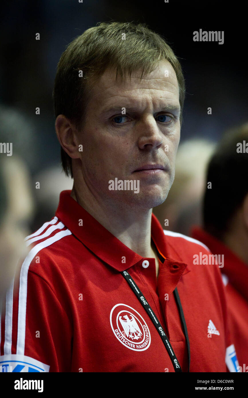Germany's national coach Martin Heuberger is seen during the handball international match between Germany and - Stock Image