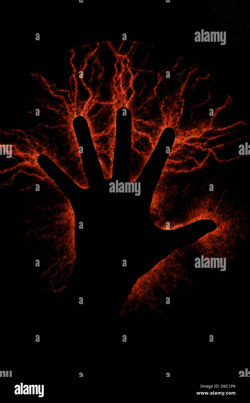 hand,mystical,electrified - Stock Image