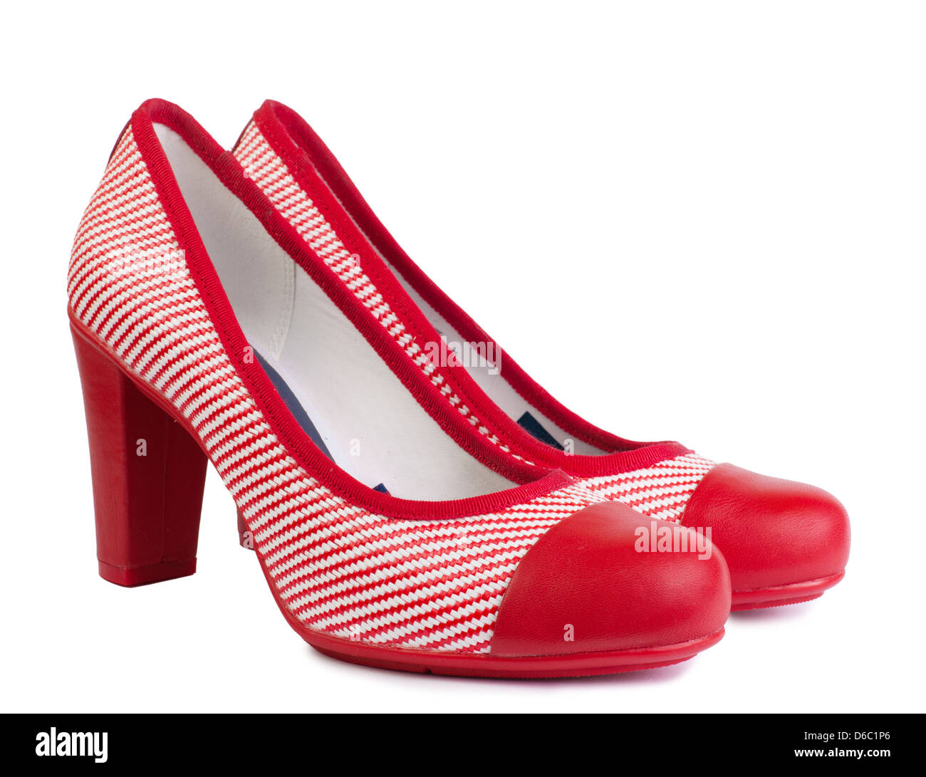 de1323318f2a fashionable women s high heel shoes. pair of striped red shoes. Isolated  over white background