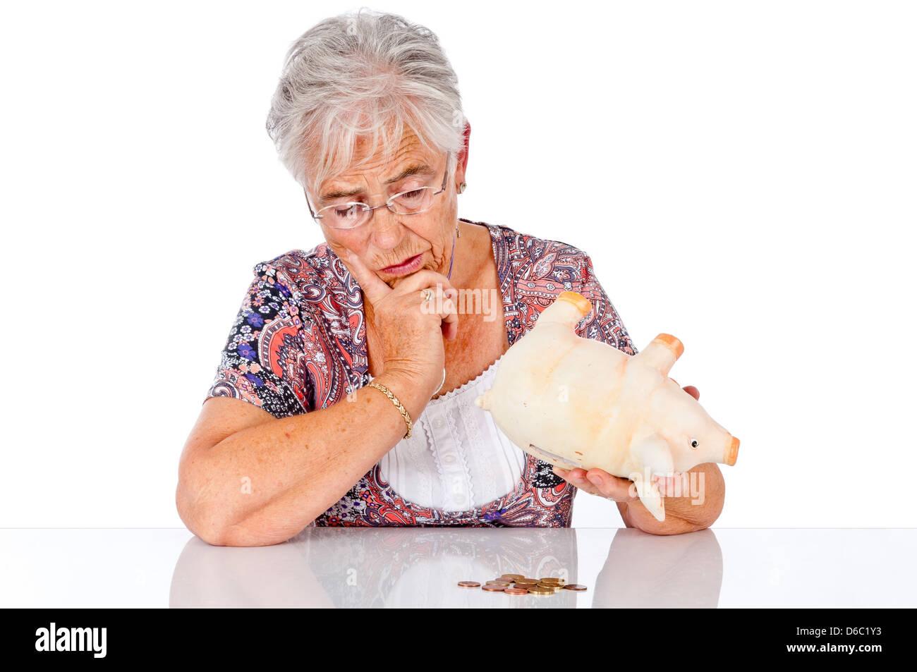 senior,doubts,worry,save,retirement - Stock Image