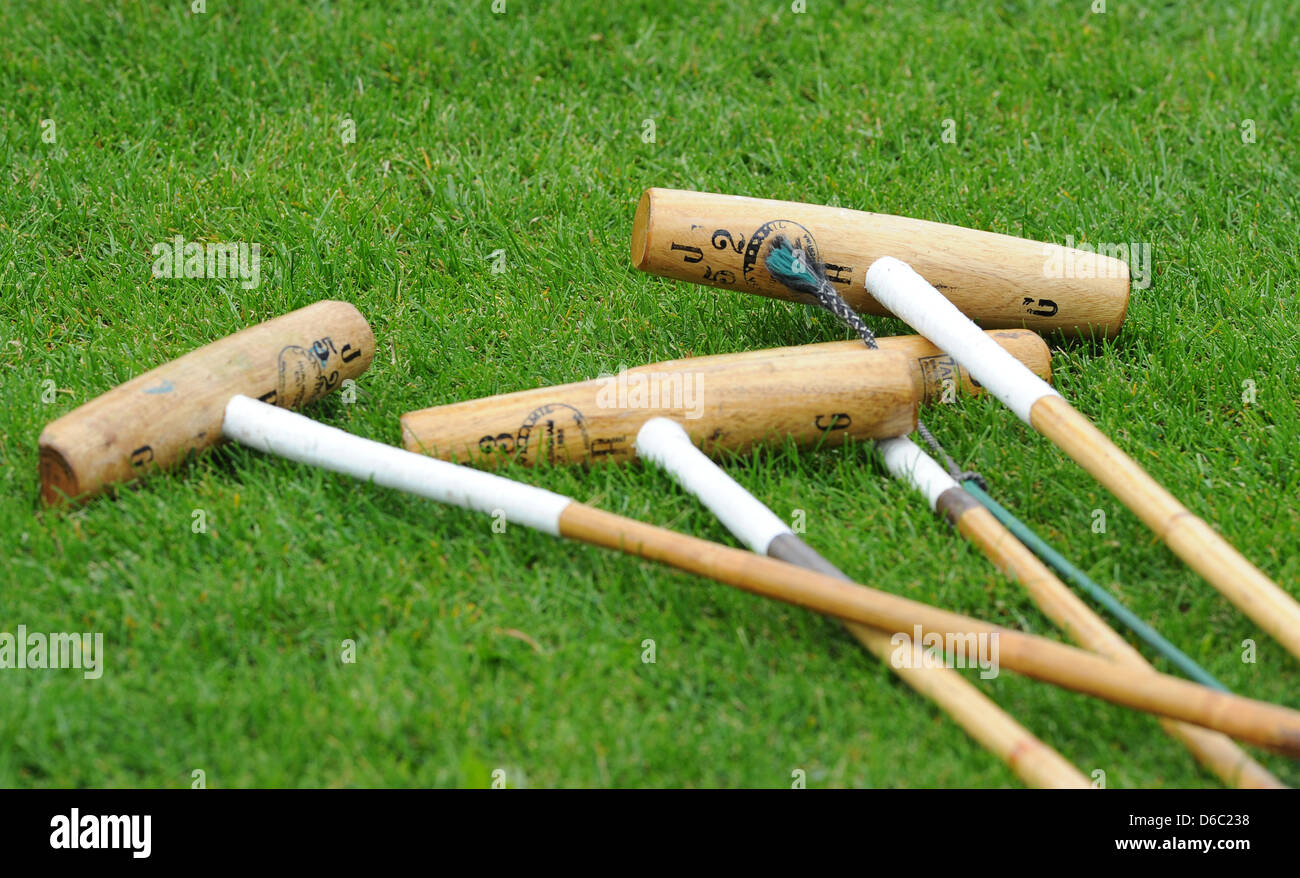 Mallets are seen during the German Polo Championship at the Berlin May field in Berlin, Germany, 21 August 2011. - Stock Image