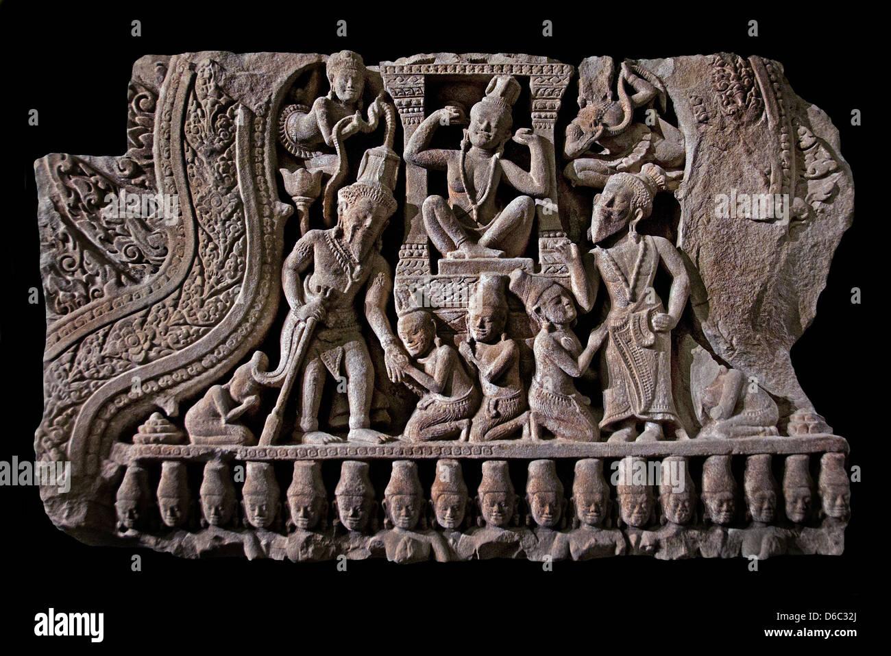 Goddess Parvati refusing to listen to Shiva's proposals pediment fragment 13th century AD Khmer Bayon style - Stock Image