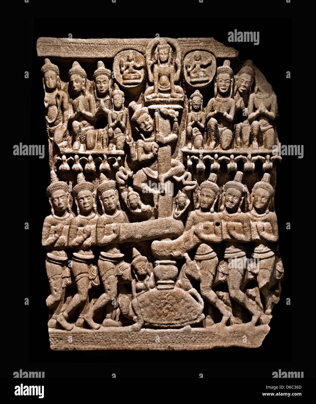 Churning Lake of Milk pediment fragment of the demons brewing  extract Amrita liquor of immortality 12th century - Stock Image