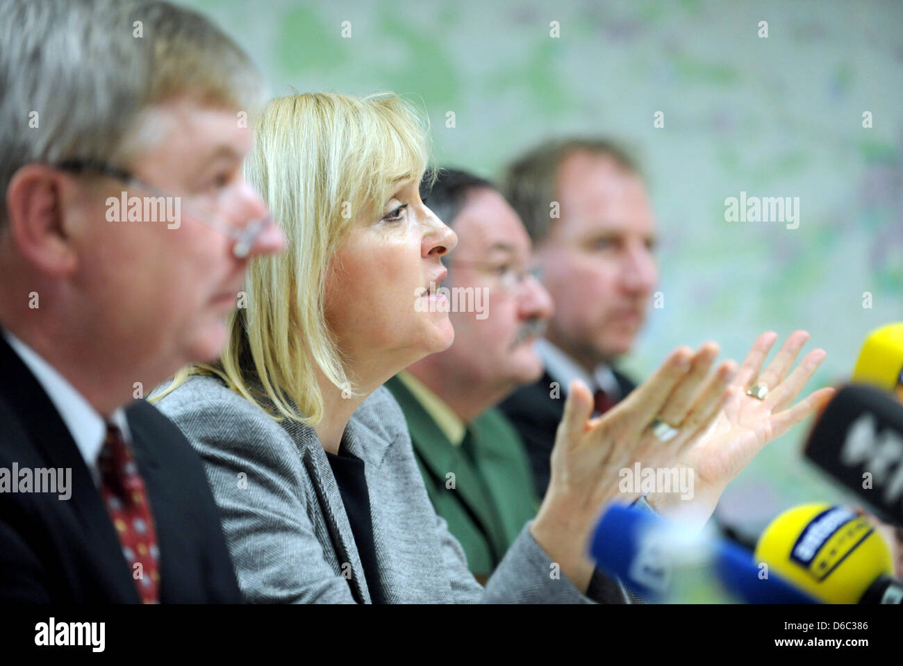Attorney General Christoph Stroetz (L) and Minister of Justice for Bavaria Beate Merk (CSU)take part in a press Stock Photo