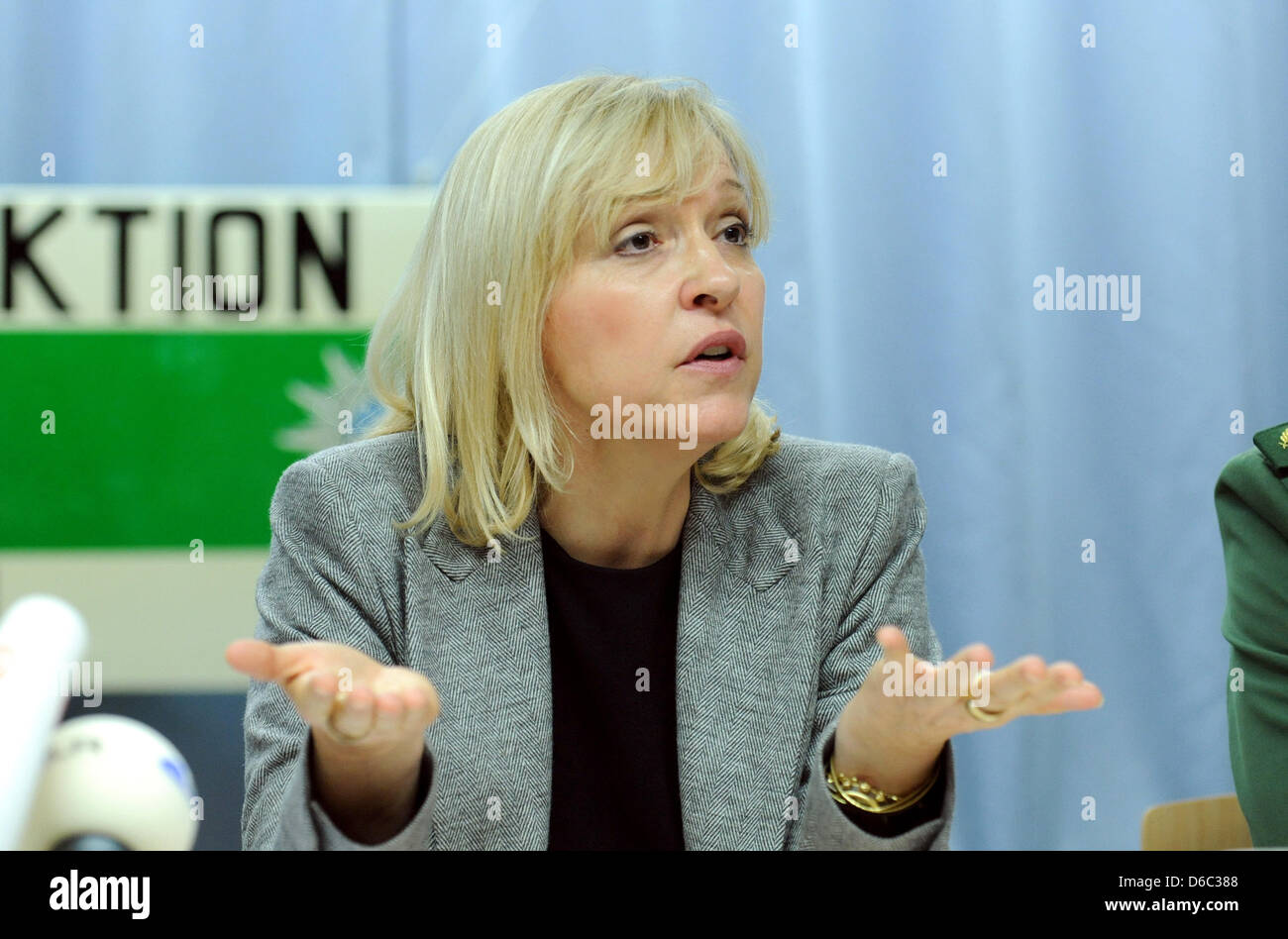 Minister of Justice for Bavaria Beate Merk (CSU)takes part in a press conference at the police office in Dachau, Stock Photo